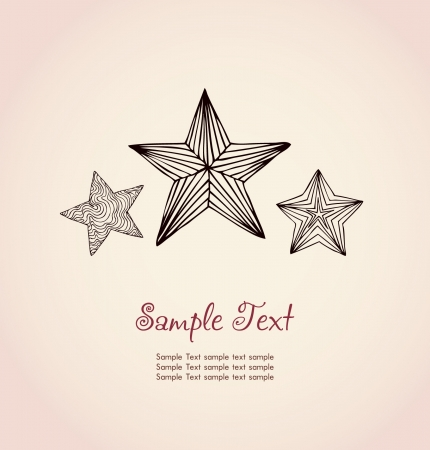 sea star: Template for design and decoration  Hand drawn decorative ornamental linear festive stars and sample text  Illustration