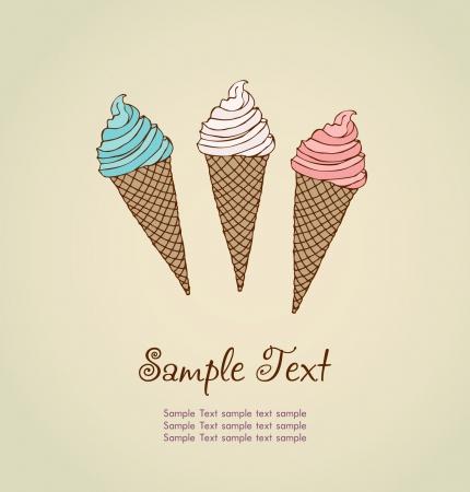 helados en cono: Plantilla para el diseño de dibujado a mano ilustración de helado diferente y lugar para su texto de fondo historieta ilustrada con texto de ejemplo