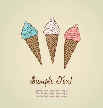 ice cream soft: Template for design with hand drawn illustration of different ice cream and place for your text  Illustrated cartoon background with sample text