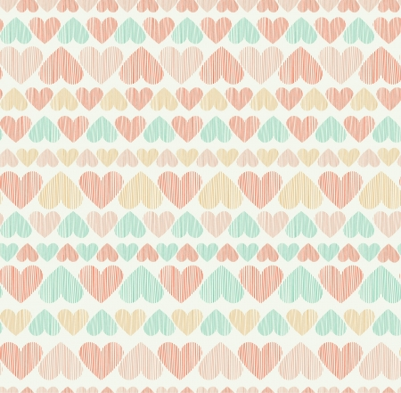 Romantic seamless heart pattern  Endless stylized cute rose texture  Template for design  Vector