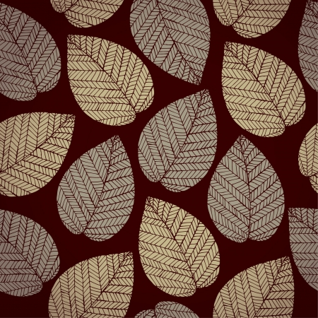 Autumn leaves on dark brown background  Autumn seamless pattern  Abstract delicate leaves texture Stock Vector - 18089289