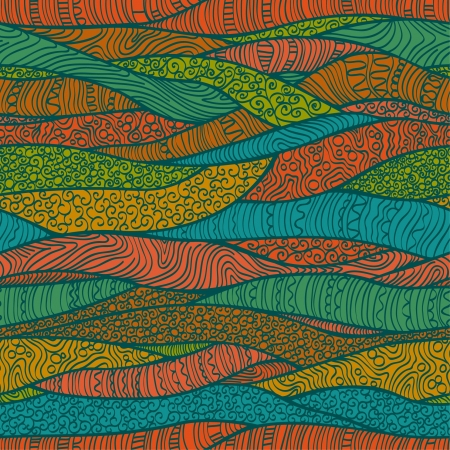 plaited: Seamless patr�n ondulado trenzado adornado con l�neas de colores Plantilla �tnico textura sin fin para el dise�o textil, fondos, paquete, papel de regalo Vectores