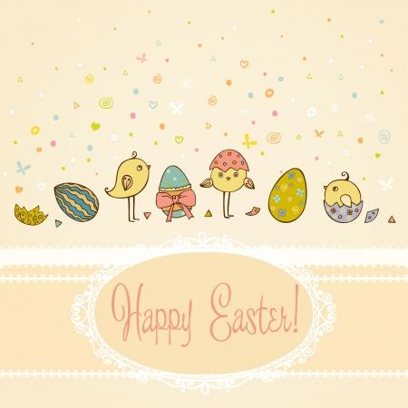 テキストの背景の手で描かれたイースターのご挨拶とカラフルな装飾的な卵小さな鶏のキュートなイラストと、テキスト テンプレートの設計、スクラップブッ キングのための場所