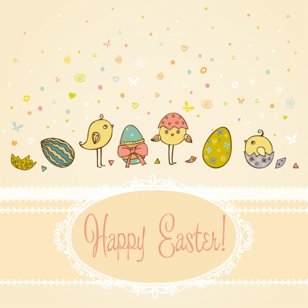 Text background with hand drawn cute illustration for Easter greeting with colorful ornamental eggs and little chicken and place for your text  Template for design and scrapbooking  Illustration