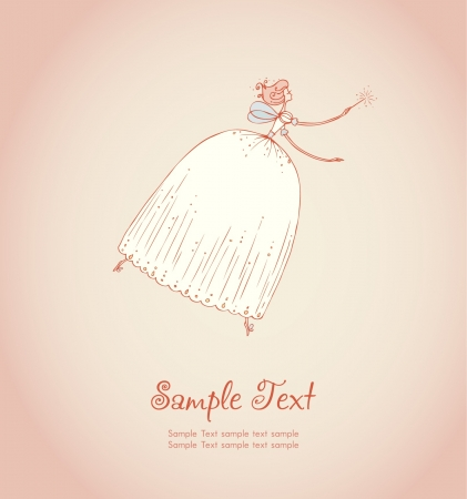 Template with image of fairy fee in beautiful dress  Illustrated decorative background and place for your text Vector