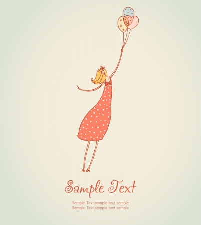 Cute illustration of flying romantic girl in rose summer dress and colorful balloons  Template for design, decoration, scrapbooking Illustration