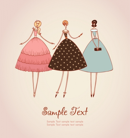 50s: Template with image of three elegant romantic girls in retro stylish cocktail dresses  Hand drawn illustration and place for your text
