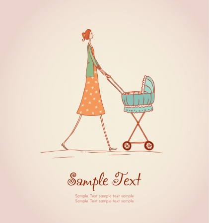 Decorative illustrated background with image of young mother walking with her baby in baby carriage  Hand drawn illustration and place for your text, template for design, decoration, scrapbooking