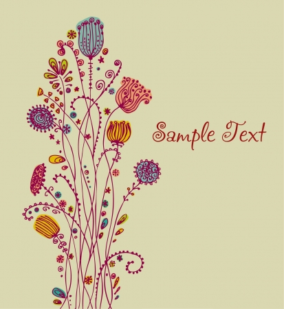 plaited: Illustrated background, template for design greeting cards with place for your text  Illustration of decorative ornamental bunch of flowers and text place Illustration