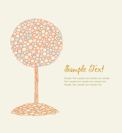Illustration with ornamental romantic decorative tree with place for your text  Template for design and scrapbooking  Vector