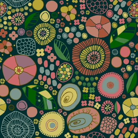 scandinavian people: Bright stylized seamless pattern with ornamental flowers and leaves  Endless floral summer texture  Template for design and decoration