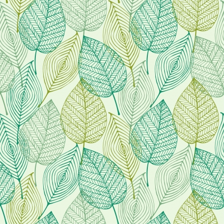 Decorative ornamental seamless spring pattern  Endless elegant texture with leaves  Tempate for design fabric, backgrounds, wrapping paper, package, covers  Illustration