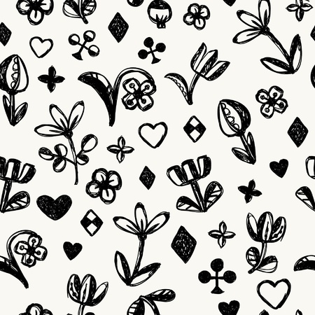 Decorative scribble hand drawn seamless texture  Endless black and white childish pattern  Template for design and decoration Stock Vector - 18558730