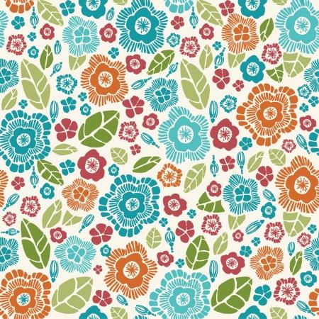 装飾的なスタイリッシュな春シームレスな花柄の花と花びらテンプレート デザインと装飾の明るい無限テクスチャ  イラスト・ベクター素材