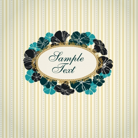 Decorative text background with geometrical linear pattern  Template for design and decoration greeting cards, invitations, package with floral ornamental vintage text frame  Vector