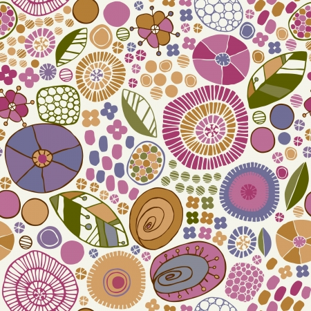 Decorative floral stylized texture  Endless pattern with flowers, leaves, petals  Template for design fabric, wrappers, covers, backgrounds  Vector