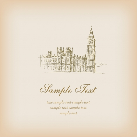Template with sketchy illustration of Big Ben and sample text  Illustrated romantic french background with place for your text