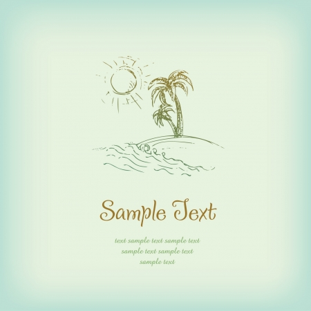 paysage: Template with sketchy illustration of Palm trees, sun, sea and sample text  Illustrated background with place for your text