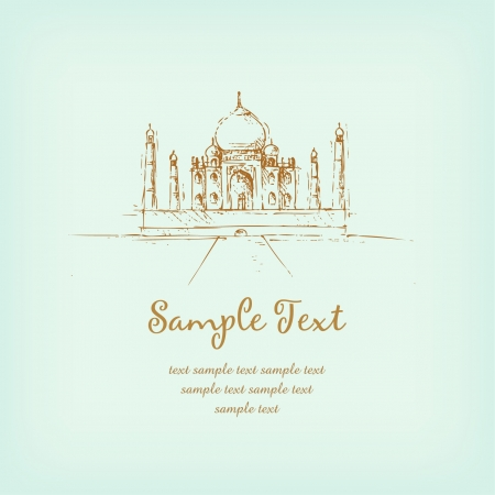 Template with sketchy illustration of Taj Mahal and sample text  Illustrated romantic french background with place for your text Vector