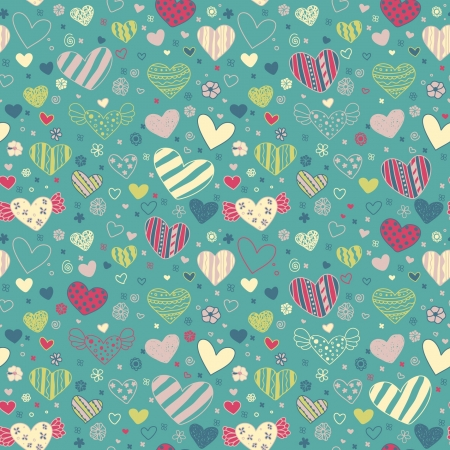 sweet heart: Romantic seamless doodle floral texture with hearts  Endless decorative colorful pattern  Template for design fabric, backgrounds, covers, wrapping paper Illustration