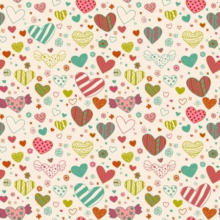 心と花の巻き毛無限テクスチャ、デザインと装飾用のテンプレートを持つ装飾的なシームレス パターン