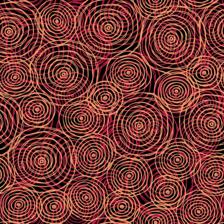 Circle endless red pattern  Seamless hand drawn texture  Template for design textile  backgrounds, wrapping paper, package  Illustration