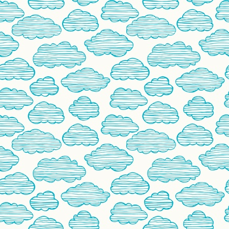 Cute hand drawn stylized seamless cloudy texture  Endless pattern with striped blue clouds  Template for design and decoration Stock Vector - 20871738