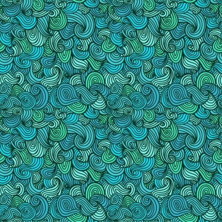 抽象的な波状のシームレスなパターン装飾的な青無限線形テクスチャ