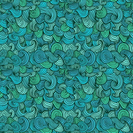 Abstract wavy seamless pattern  Decorative blue endless linear texture