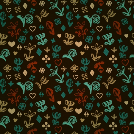 country side: Colorful stylized seamless pattern with flowers and hearts  Endless floral doodle texture