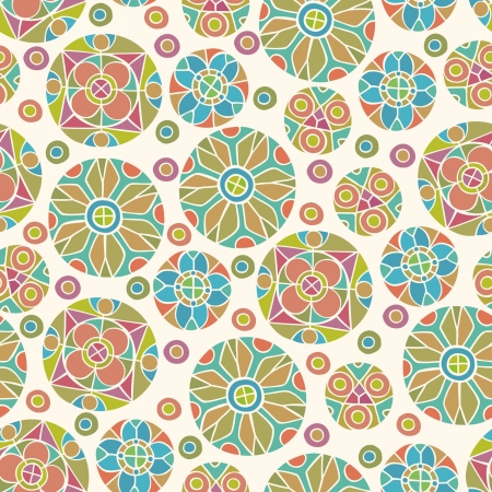 natural color: Decorative abstract seamless pattern  Ornamental round endless texture