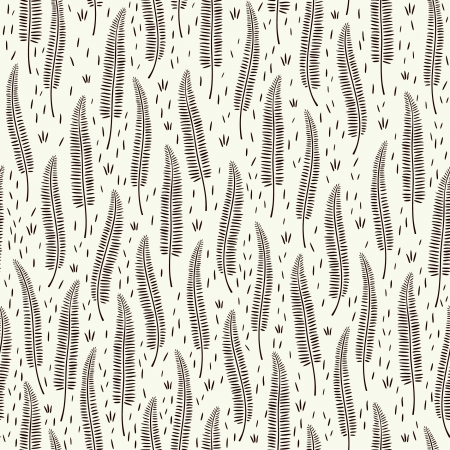 ferns: Decorative black and white seamless texture  Graphic endless pattern