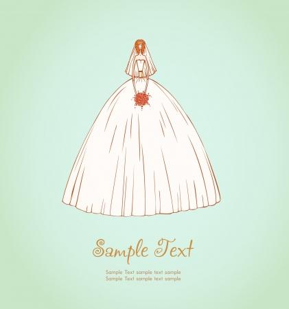 Illustration of beautiful bride Illustration