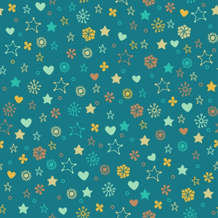 Endless bright summer pattern with flowers  Seamless blue nice texture Vector