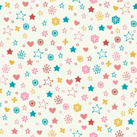 engagement cartoon: Seamless doodle pattern with colorful flowers, stars, hearts  Endless cute romantic texture