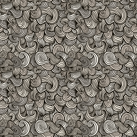 Seamless linear black and white wavy texture  Endless neutral pattern Illustration