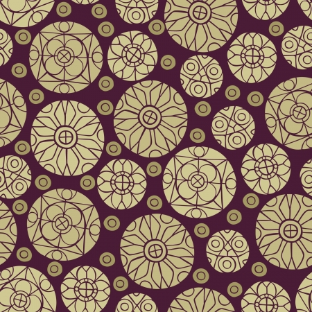 Seamless oriental round pattern  Endless beige stylized texture Stock Vector - 21684426