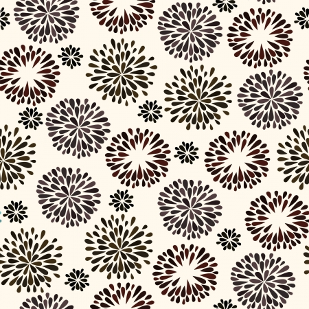 Seamless pattern with black flower silhouettes  Endless elegant texture
