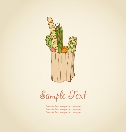 Illustration of vegetables in a paper bag Vector
