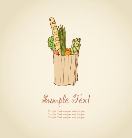 market place: Illustration of vegetables in a paper bag