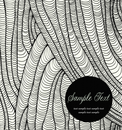 flayer: Black and white linear abstract ornamental background with round text frame