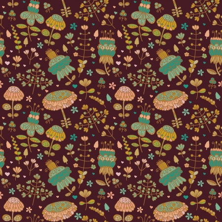 country side: Colorful decorative seamless pattern with country flowers