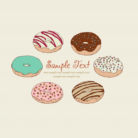Hand drawn doughnuts  Vector