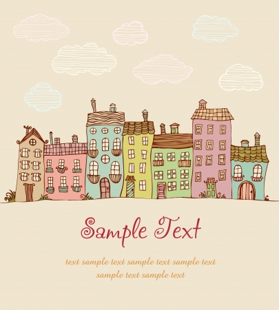 Illustration of doodle colorful houses   Vector