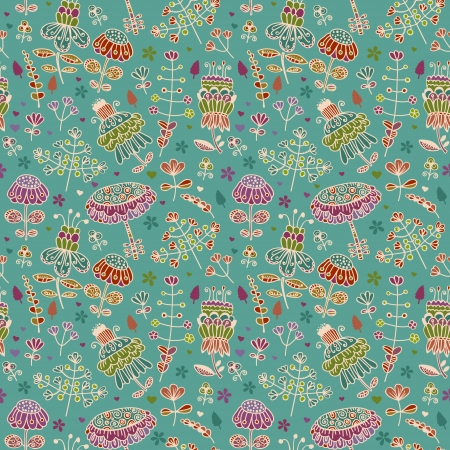 Seamless doodle floral texture   Vector