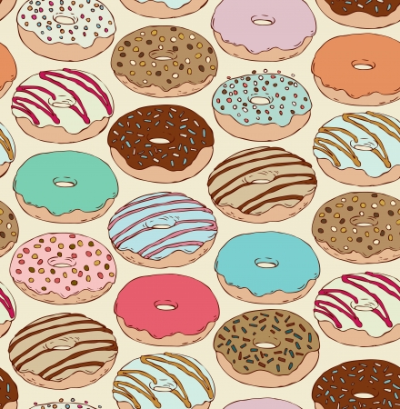 Seamless hand drawn pattern with doughnuts