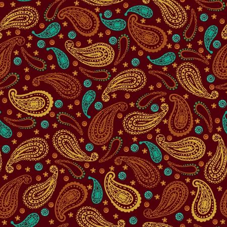 抽象的な花民族インド ペーズリーのデザイン要素を持つヴィンテージのシームレスなパターン  イラスト・ベクター素材