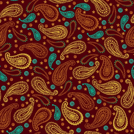Vintage seamless pattern with abstract floral ethnic indian paisley design elements