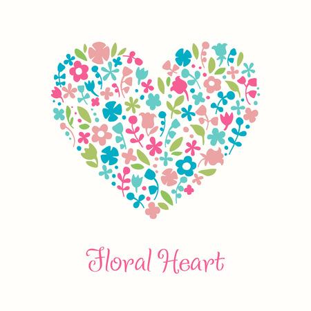 Decorative floral heart. Doodle illustration for design greeting cards Vector
