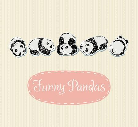 oso panda: Conjunto divertidos Pandas Vectores